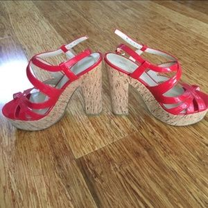Nine west red platform sandals